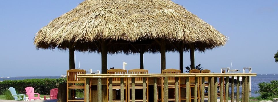 Tiki hut gazebo style with natural thatch, stand up bar