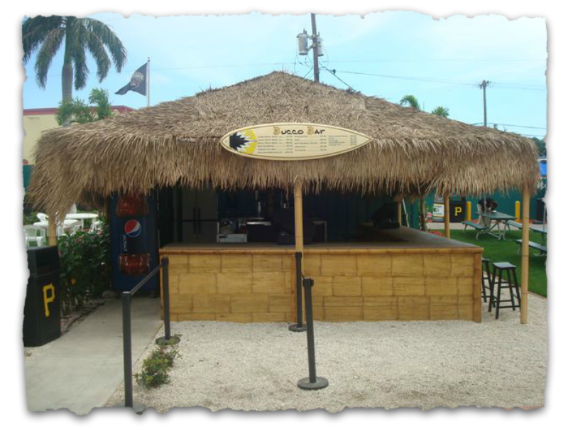 Pittsburg Pirates tiki bar with Mexican rain cape