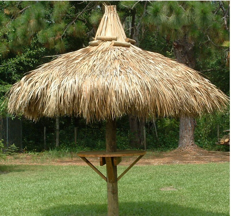 single pole tiki hut with table